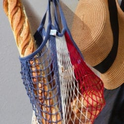 Borsa per spesa in cotone – Blu, Bianco e Rosso