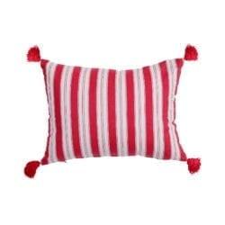 Cuscino a righe in cotone – Rosso e Bianco