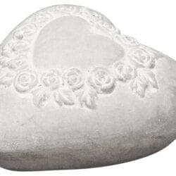 Cuore Grigio con rose in Cemento