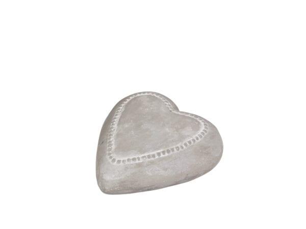 Cuore grigio grande con bordo di perle