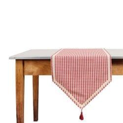Runner da tavola a quadretti rossi