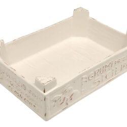 Cassetta frutta piccola in ceramica – Bianco