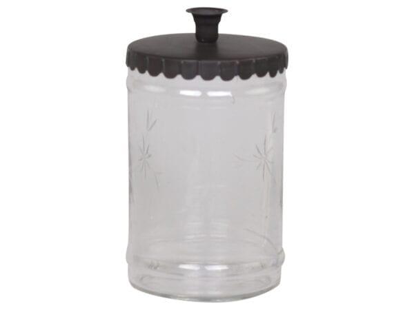 Portacandele in vetro lavorato+15 can. grigio scuro