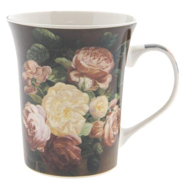 Tazza con fiori in porcellana- Marrone