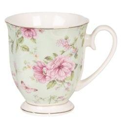 Tazza con fiori in porcellana- Verde