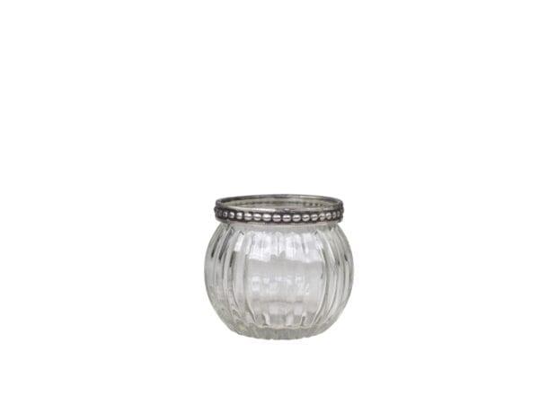 Portacandele in vetro con bordo perla