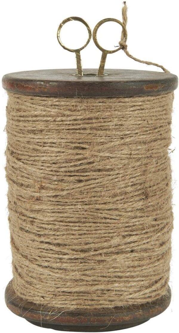 Bobina di legno con corda di iuta e forbici