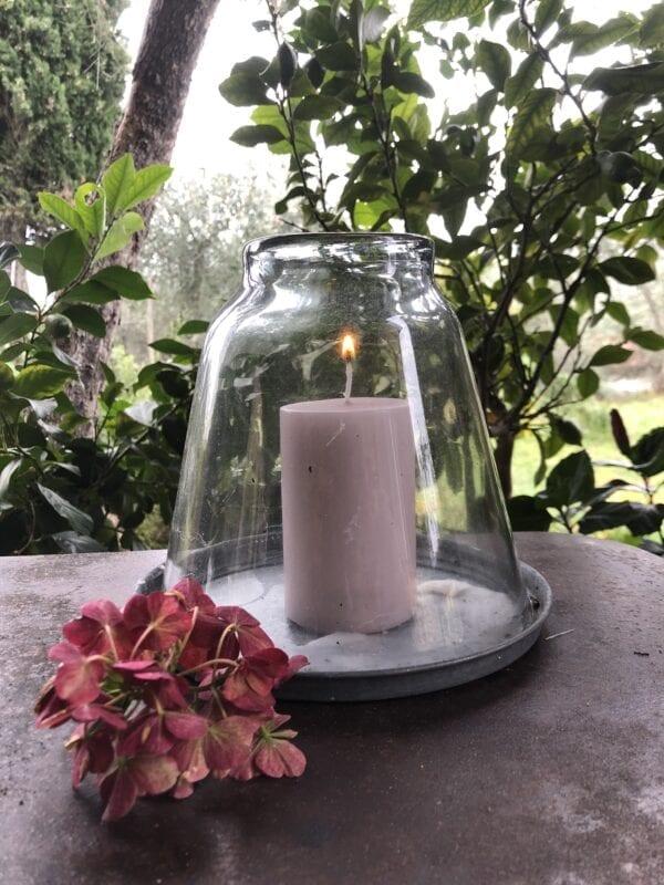Porta candela con copri candela – Grigio