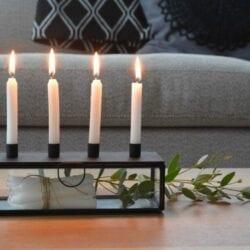 Porta candele e candelabro con cassetto – Nero