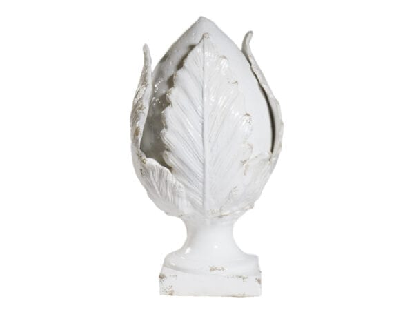 Pomo su piede medio in ceramica – Bianco