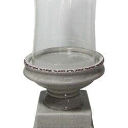 Porta candela in vetro e ceramica craquele