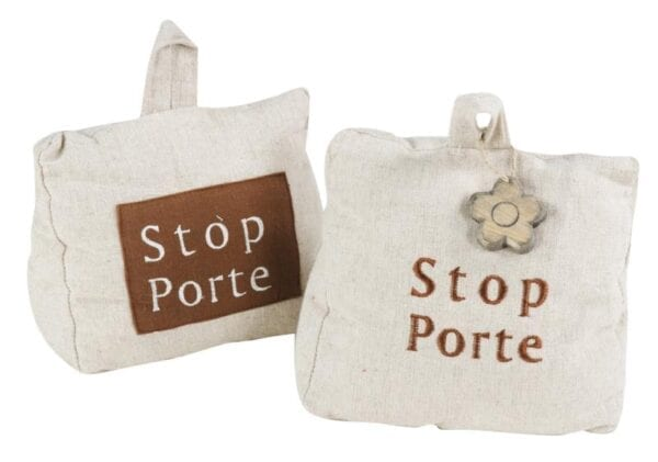 "Ferma porta ""Stop porte"" – Targhetta Marrone"