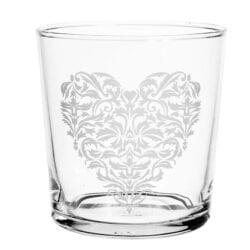 Bicchiere Tumbler cuore con foglie piccole