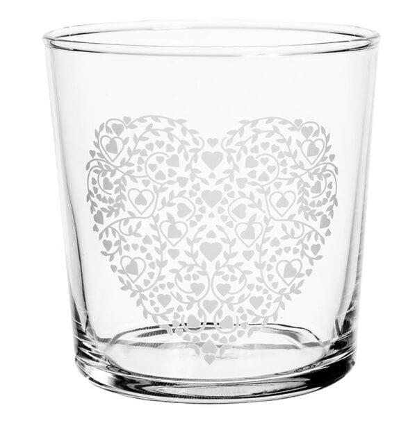 Bicchiere Tumbler cuore con piccoli cuori