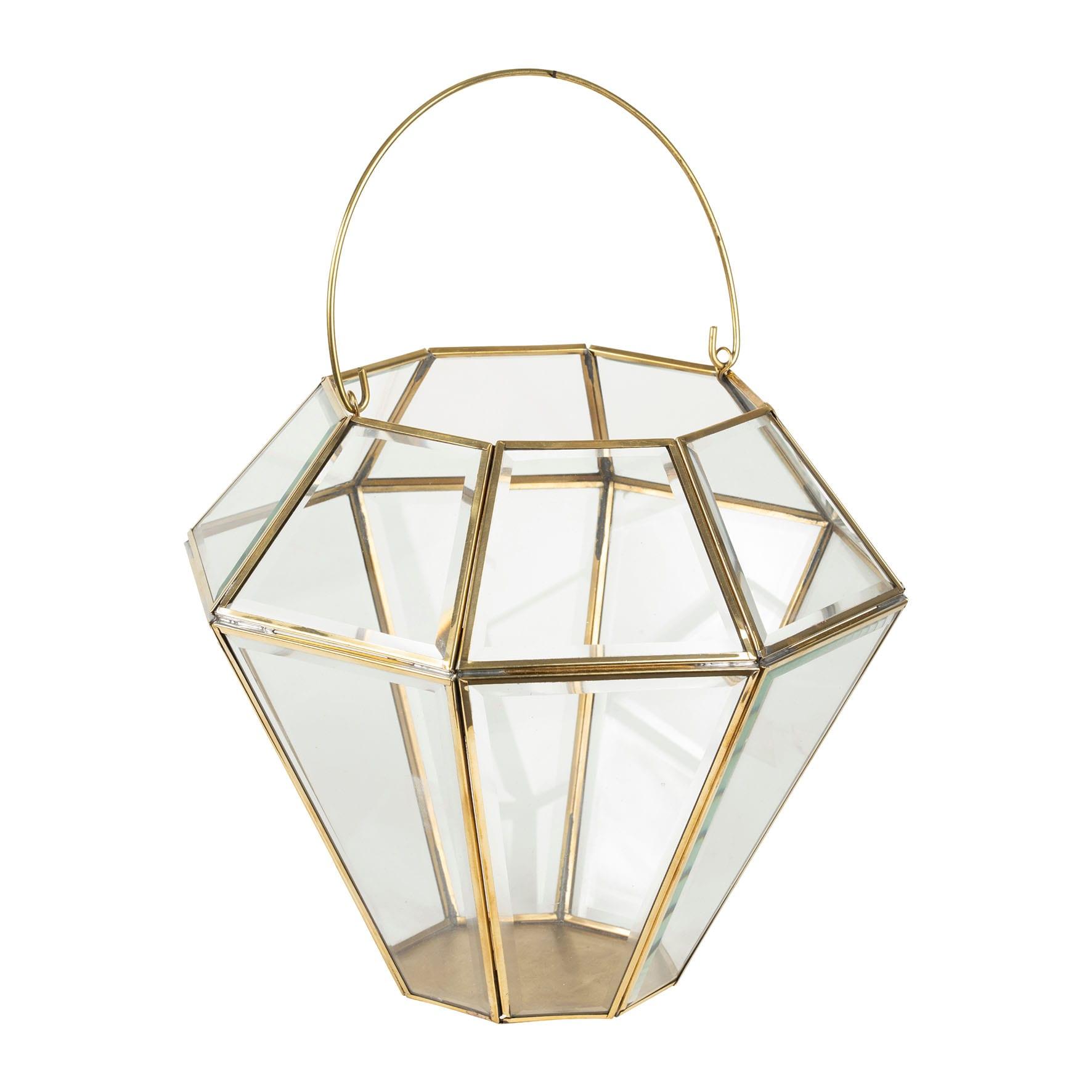 Lanterna porta candela con gancio – Bordo dorato