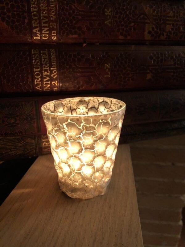 Porta candele piccola craquele – Bianca