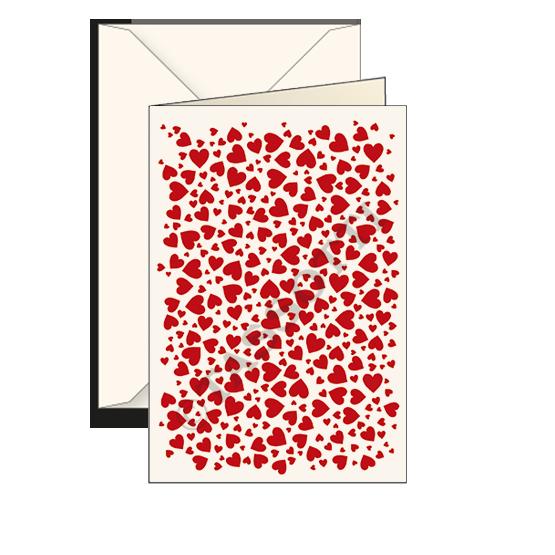 Biglietti auguri avorio – Cuori rossi