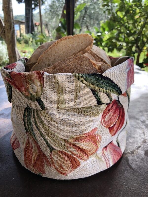 Porta pane in gobelin – Tulipani