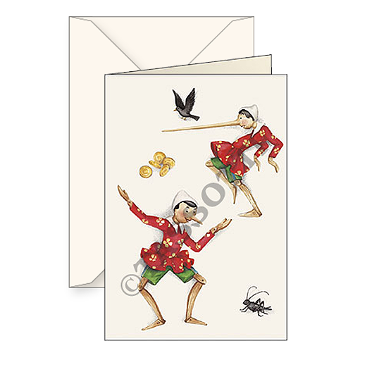 Biglietti auguri avorio – Pinocchio
