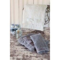 Cestino con 3 lavette – Tortora