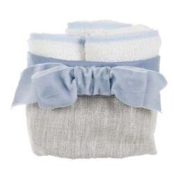 Cestino con 3 lavette – Azzurro