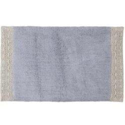 Tappeto in cotone con pizzo – Blu