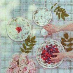 Piatto piano in ceramica – Moss Rose