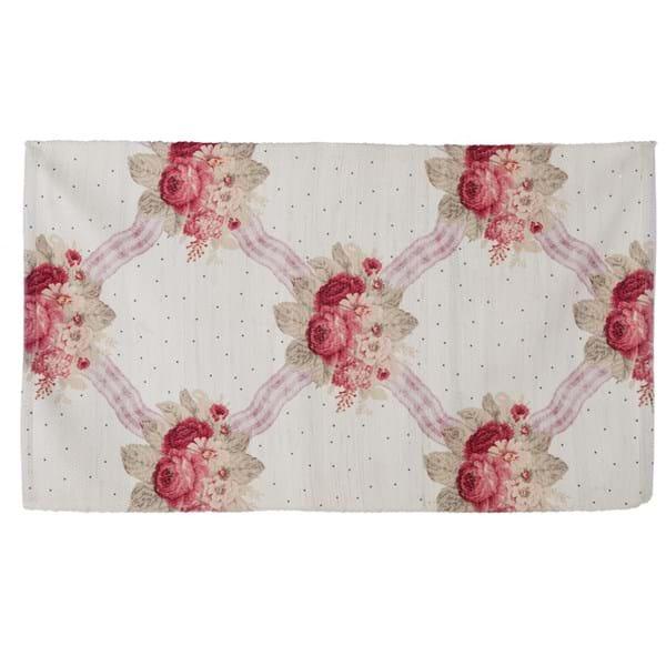 Tappeto con fiori e pois in cotone