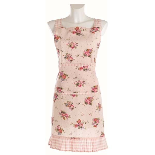 Grembiule in cotone – Rosa con fiori
