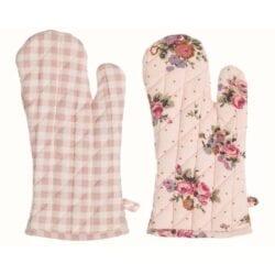 Guanto in cotone – Rosa con fiori