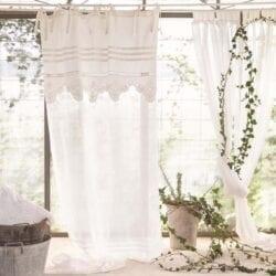 Tenda 150×290 lavorata bianca – Misto lino