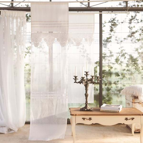 Tenda 60×220 lavorata bianca – Misto lino