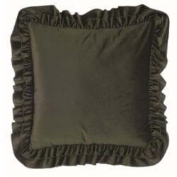 Cuscino velluto con gale – Verde scuro