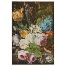Quadro floreale su tela in legno