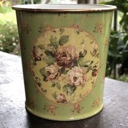 Vaso primavera – Verde con sfondo giallo e rose