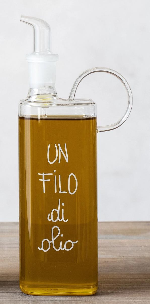 """Oliera in vetro borosilicato """"Un filo di olio"""" – 400ml"""