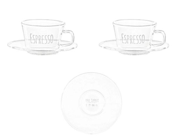 Set 2 tazzine con piattino in vetro borosilicato