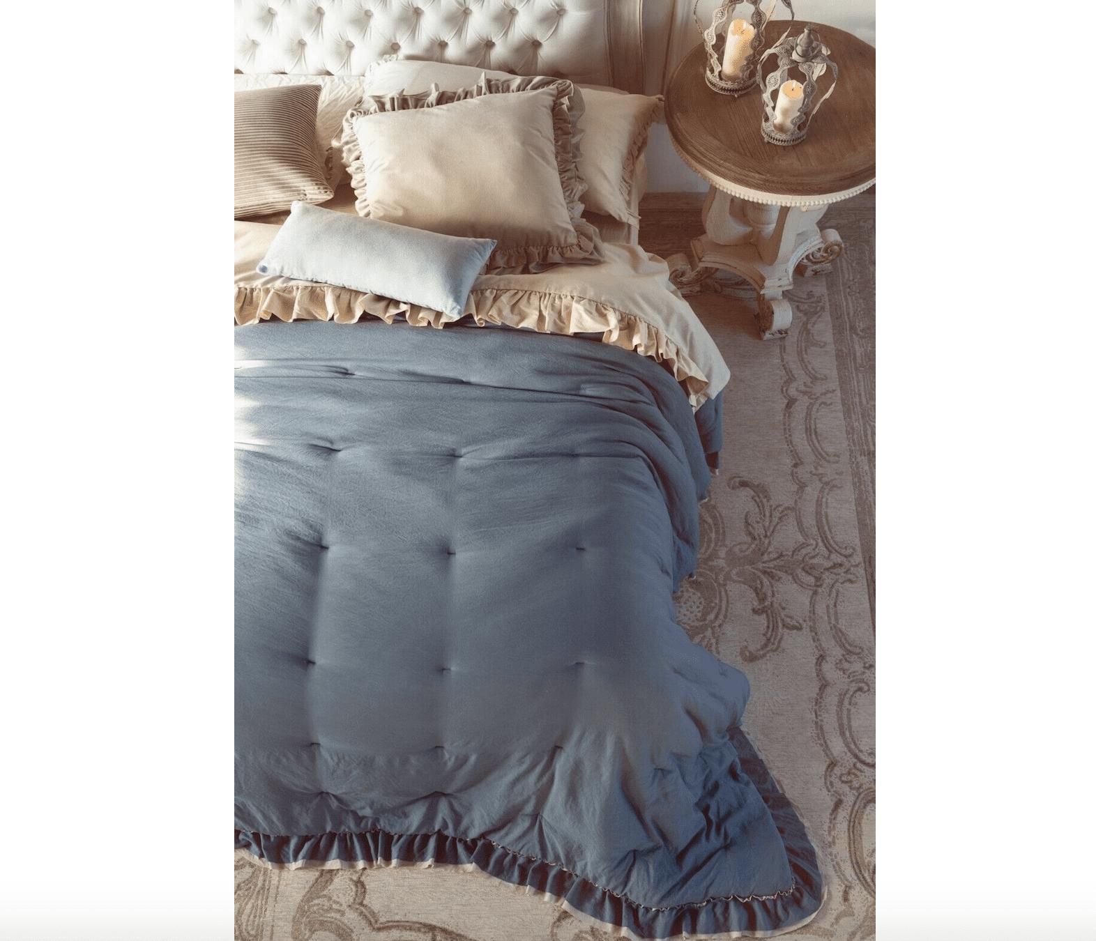 Piumino copriletto matrimoniale con gala – Blu