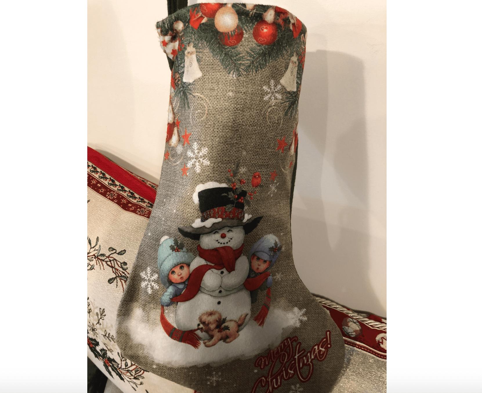 Calza natalizia in cotone – Pupazzo di neve