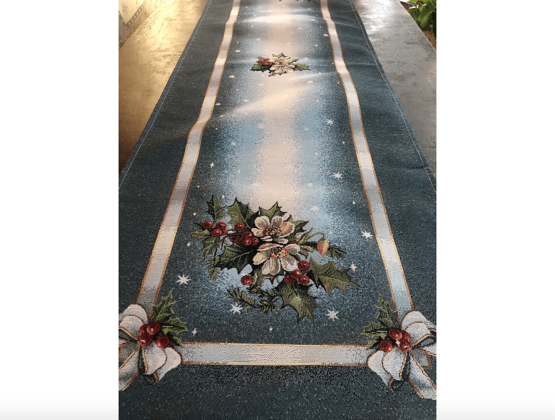 Runner in gobelin 135×45 – Fiori e stelle natalizi
