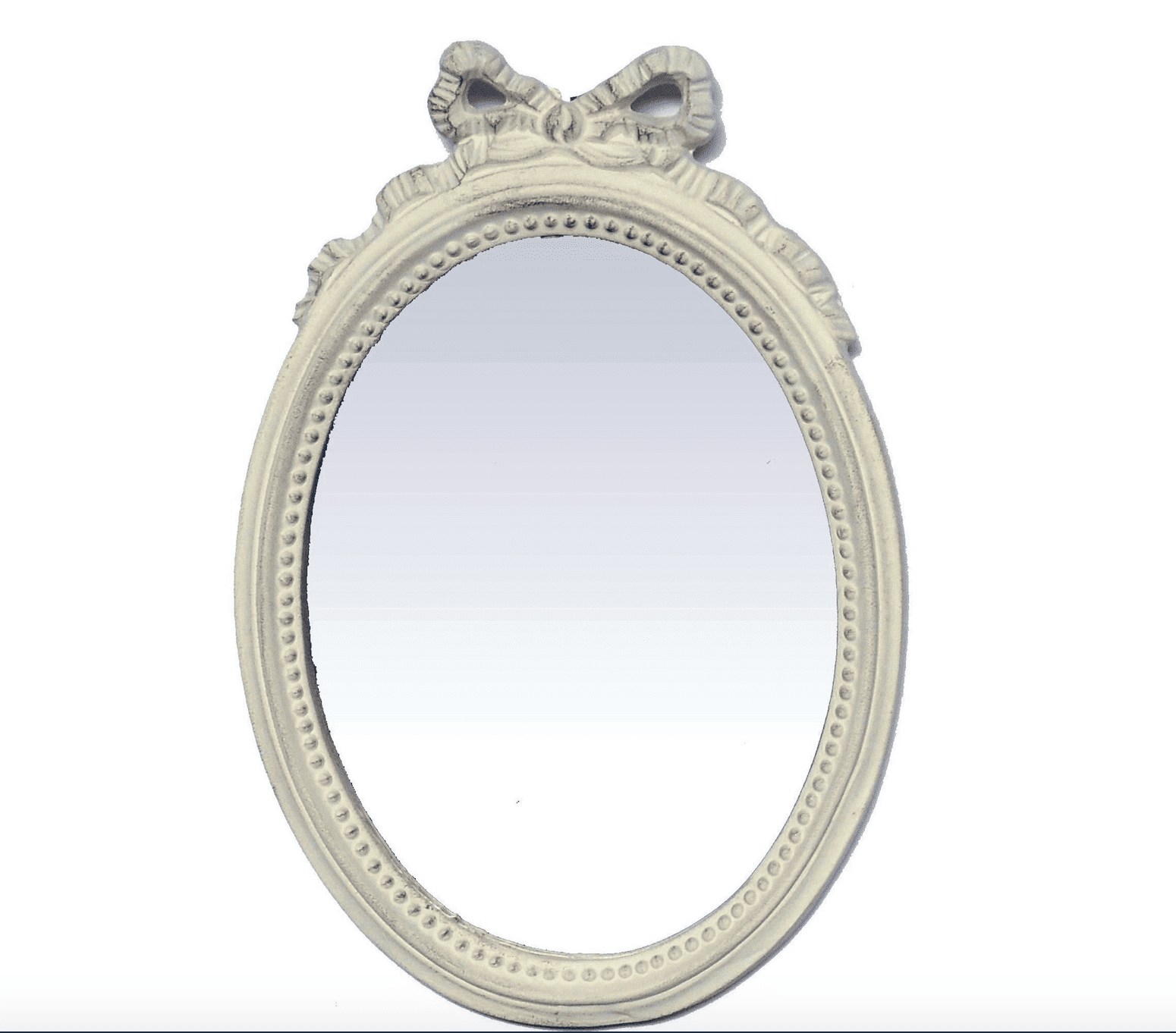 Specchio ovale con fiocco beige