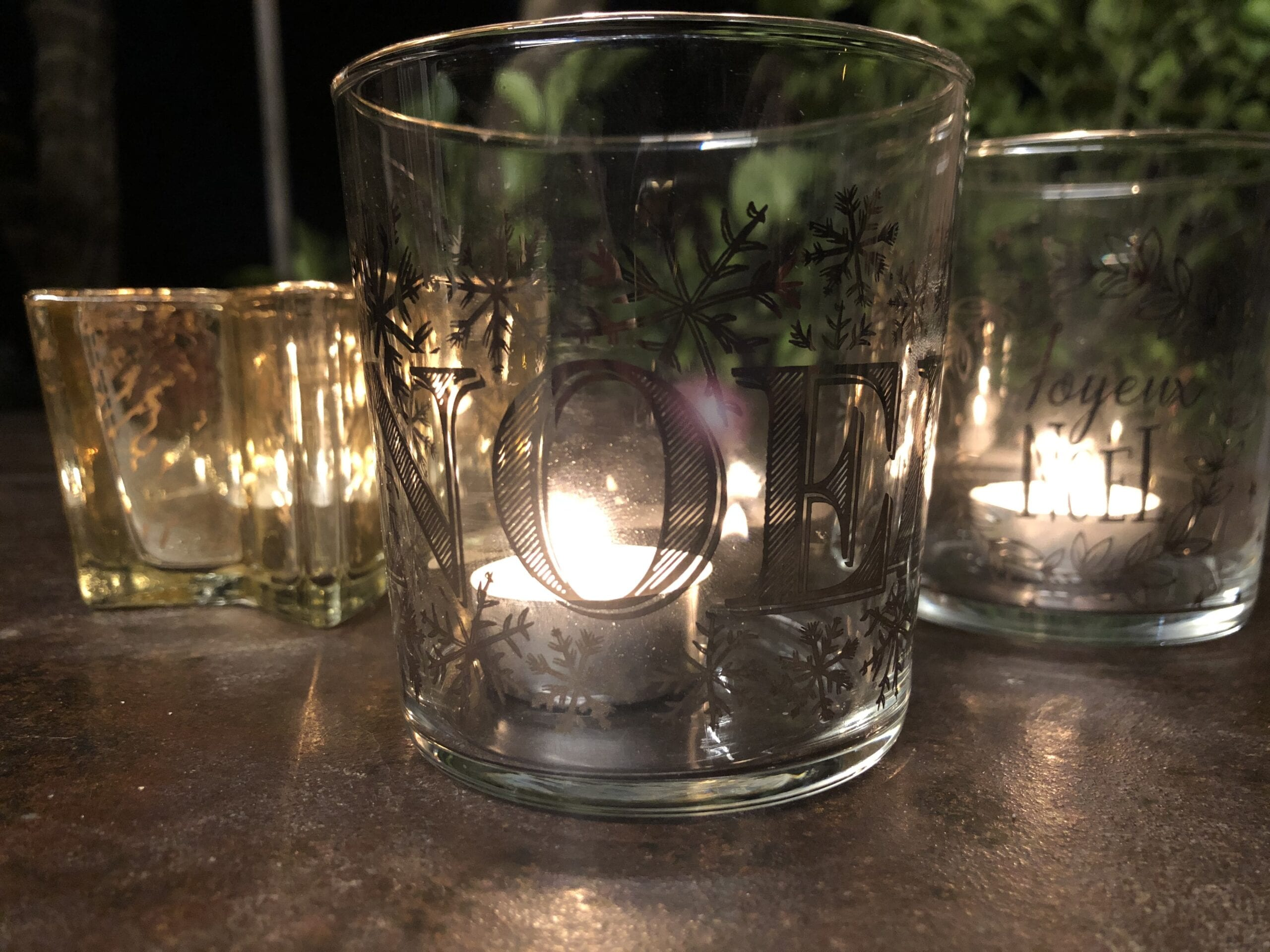 Porta candela – Scritta Noël