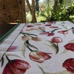 Runner Gobelin – Bianco con Tulipani