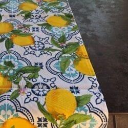 Tovaglia cotone 140×300 – Blu con limoni