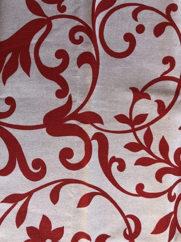 Runner cotone – Bianco con decori rossi