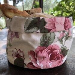 Porta pane in cotone – Fiori rosa