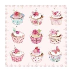 Tovaglioli piccoli di carta 3 veli – Cup cakes rosa