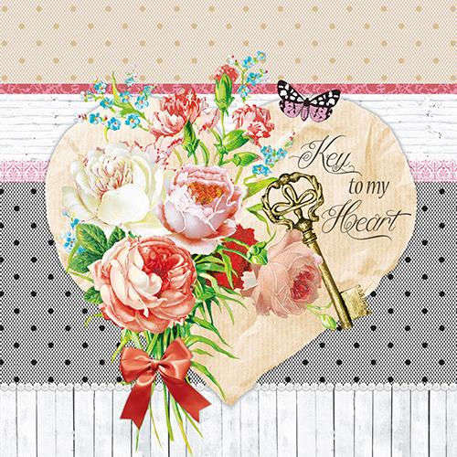 Tovaglioli di carta 3 veli – Cuore con fiori