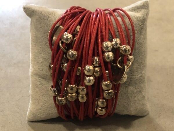 Braccialetto grande con tante palline – Rosso