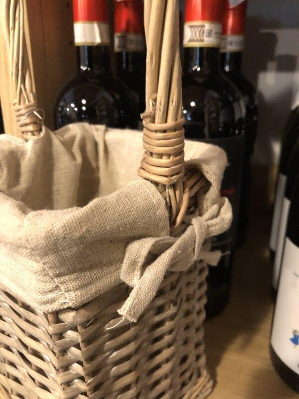 Cestino vimini quadrato per vino